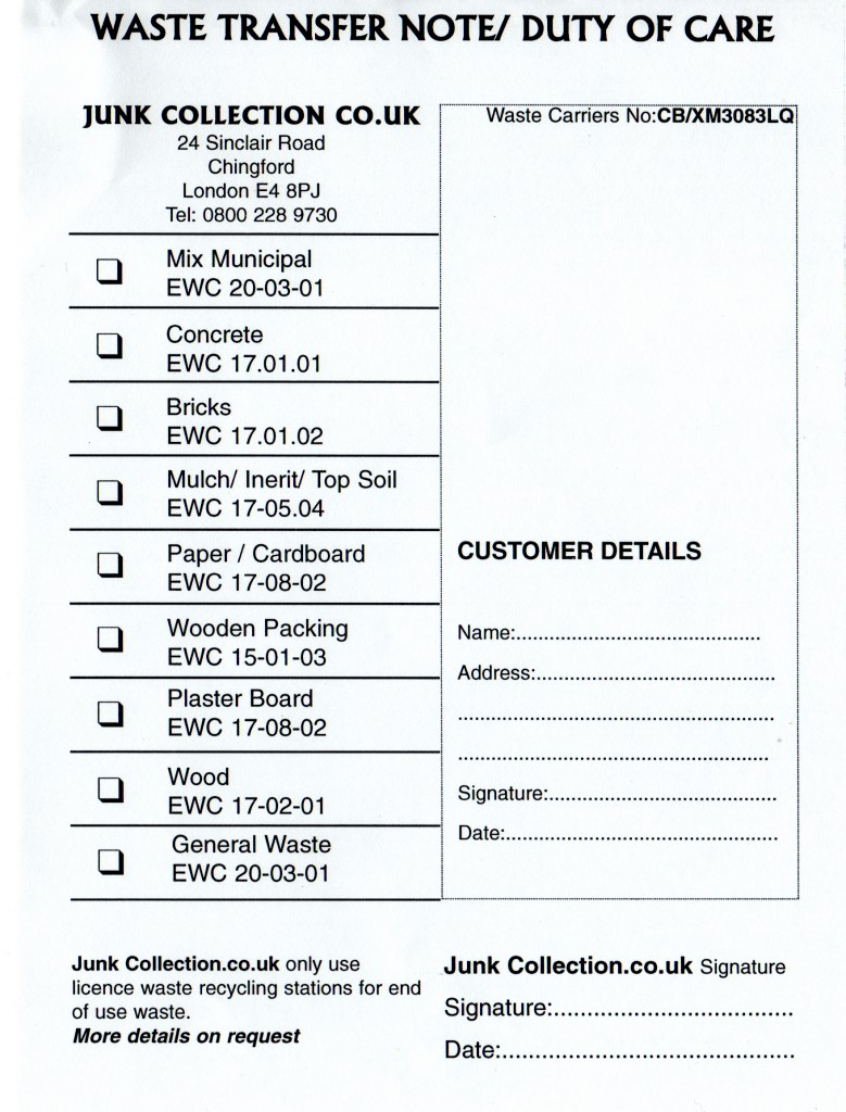 junk collection waste transfer note